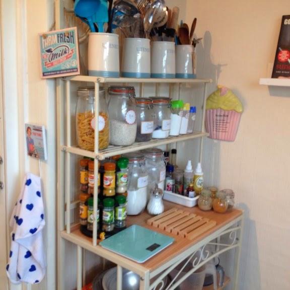open shelf unit in kitchen