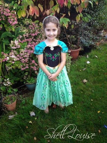Ella wearing her new Frozen dress
