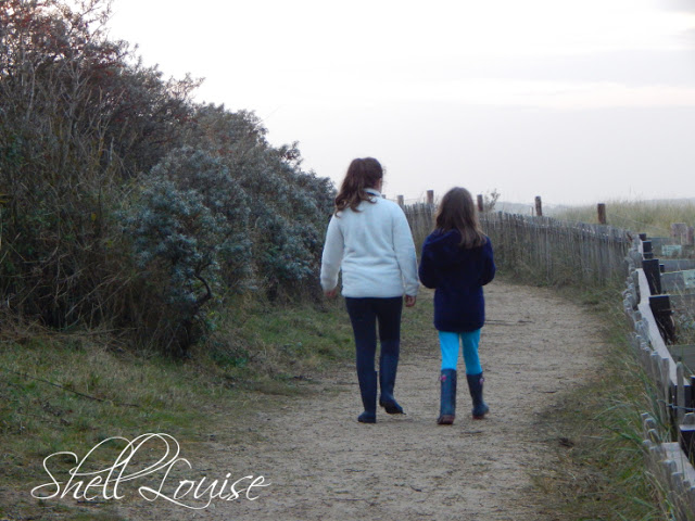 Donna Nook Nature Reserve - Kaycee and Ella walking on the path