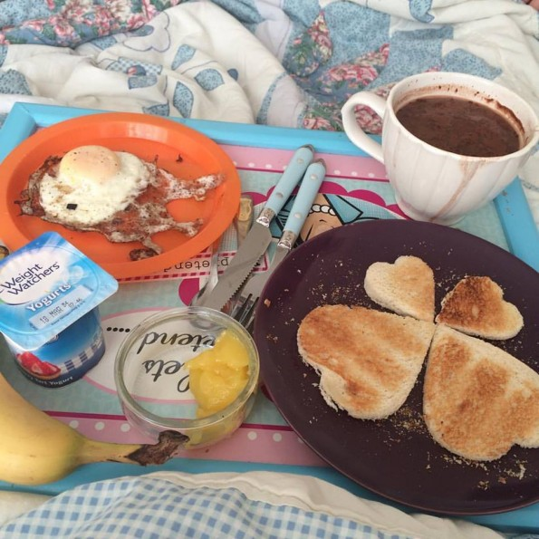 Fried egg, toast hearts, lemon curd and hot chocolate breakfast in bed - Mother's Day 2016