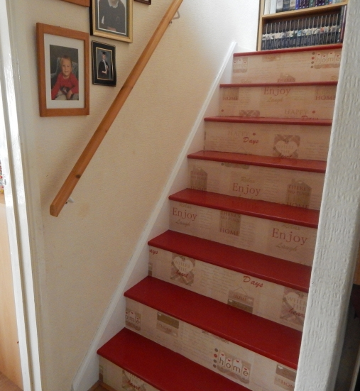 painted and wallpapered stairs