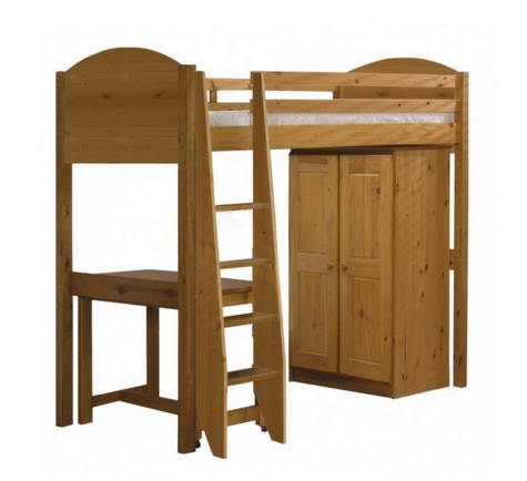 High sleeper with wardrobe and desk