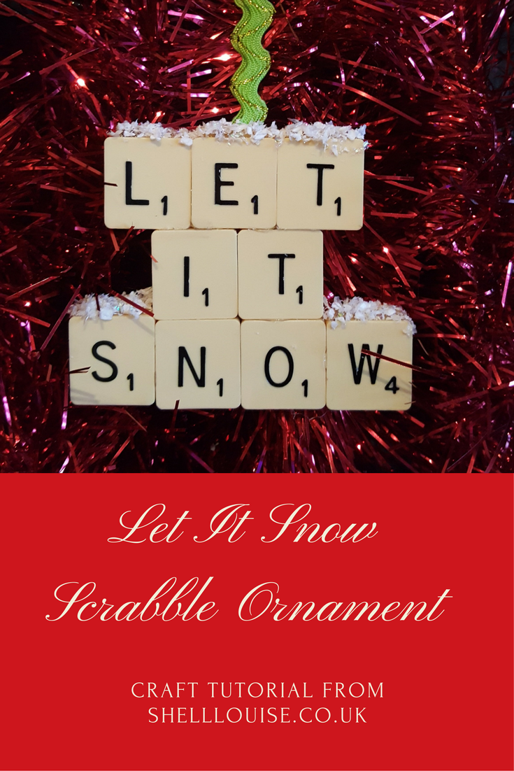 Let it snow scrabble Christmas tree ornament craft tutorial