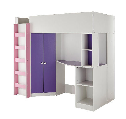change bedroom - loft bed with wardrobe, desk and storage