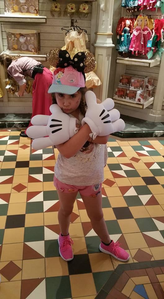 Ella posing in Mickey hands - - Disneyland Paris Photos