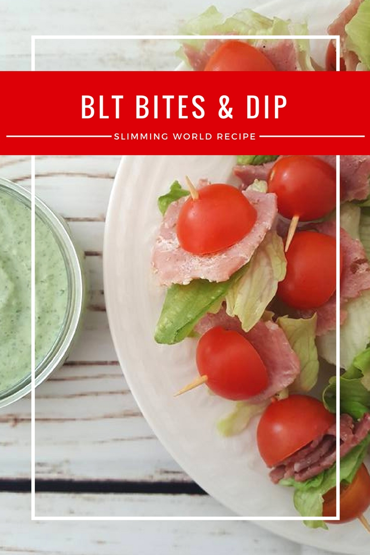 BLT bites with garlic and herb dip