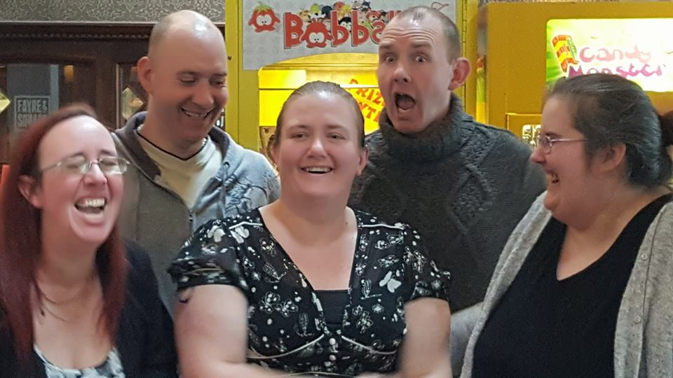 Me, Stacy, John and James - Meeting our older half-sister, Jayne, for the first time.