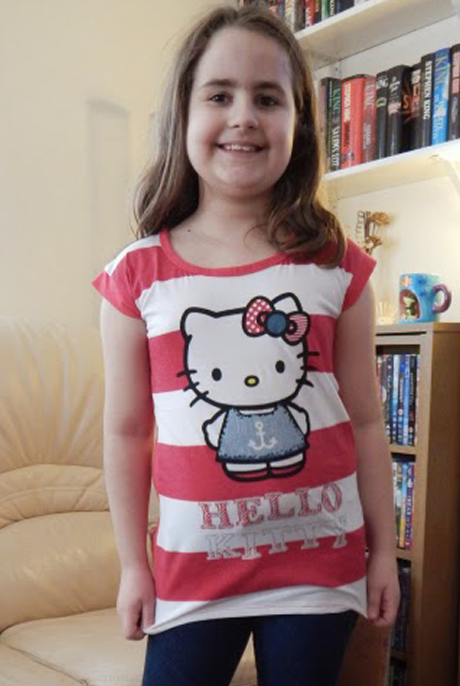 Kaycee wearing a Hello Kitty t-shirt