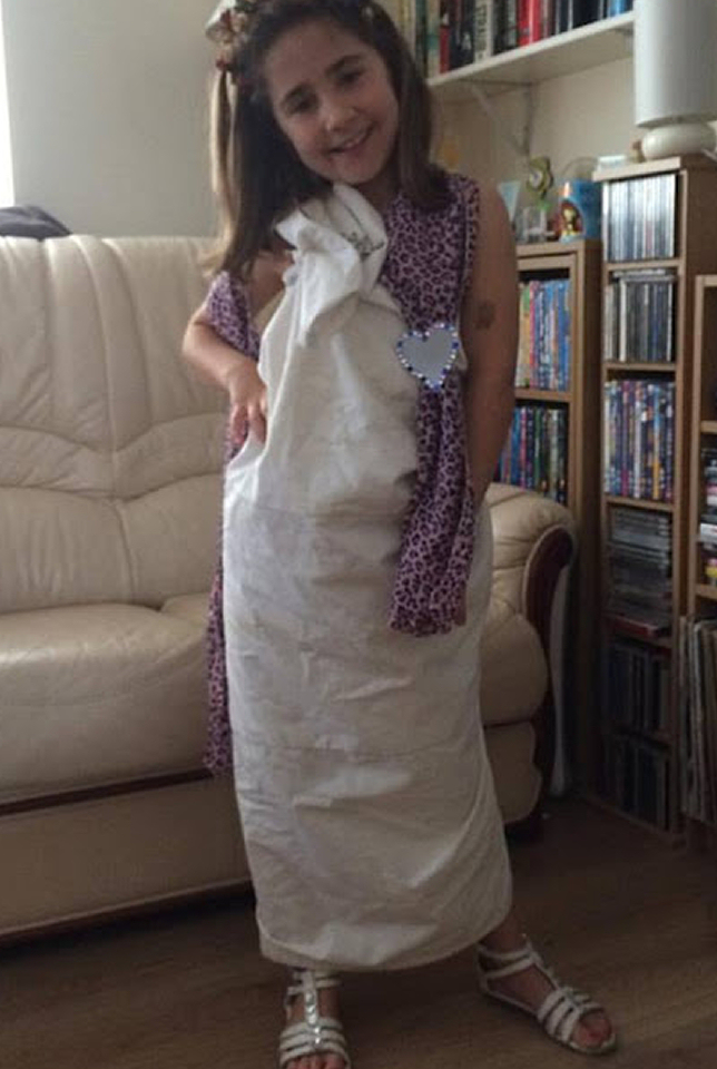 Ella in her Roman goddess costume