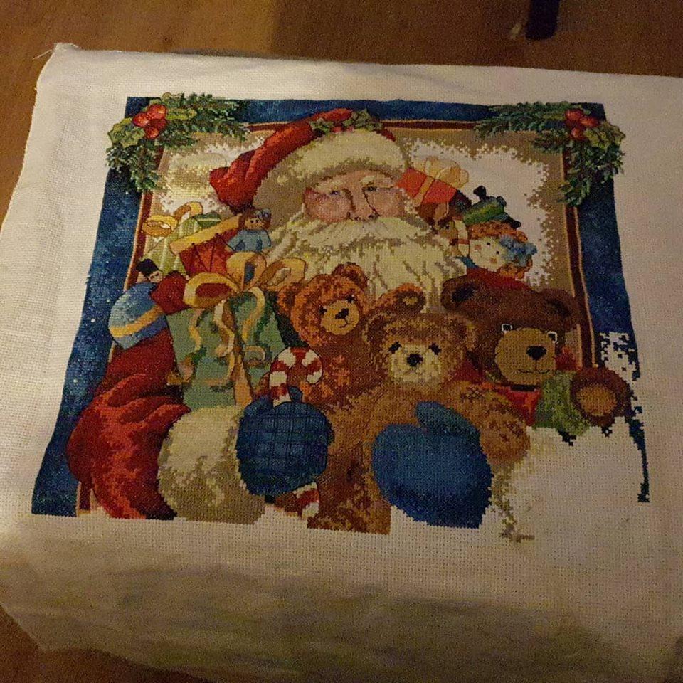 Working on my Santa Christmas cross stitch
