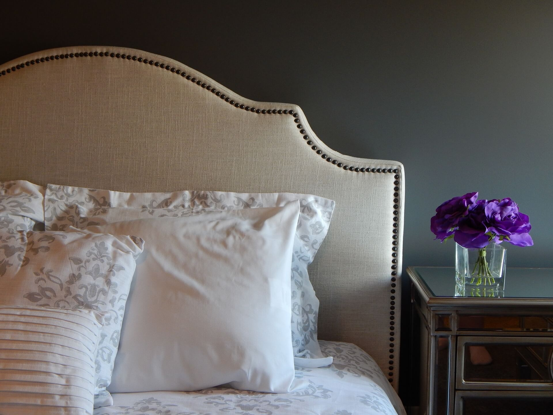 bed with pillows on - Hilary's blinds bedroom makeover competition