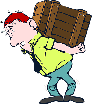 cartoon man carrying a box on his back