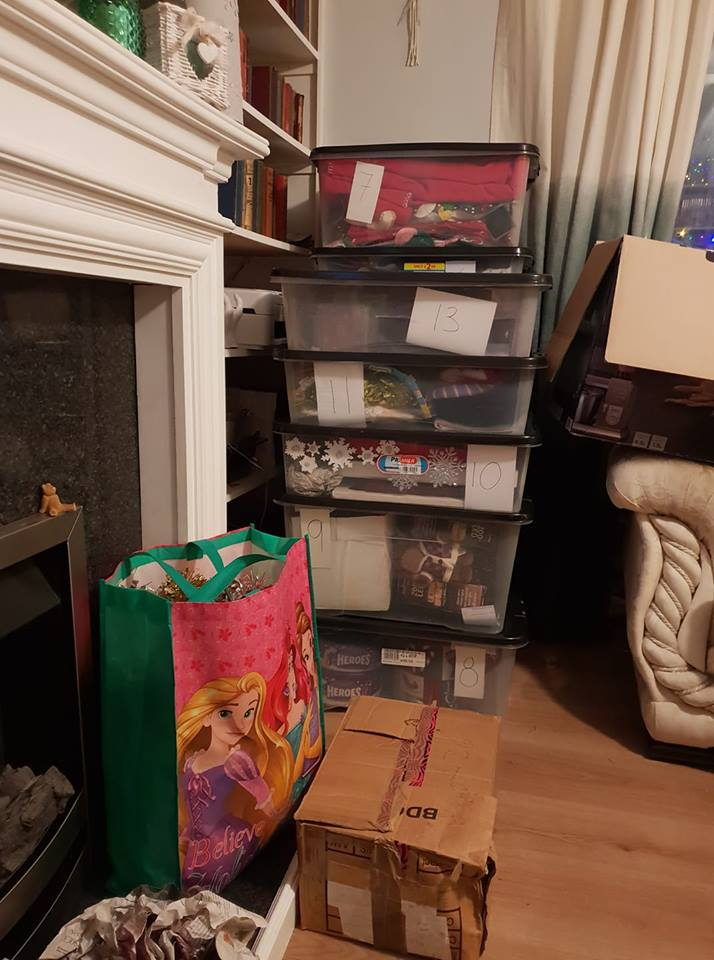 13 Christmas storage boxes- nearly packed Christmas away