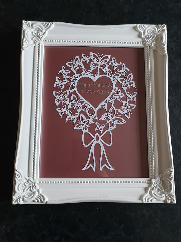 Butterfly Bouquet Cutout Framed personalised wedding gift