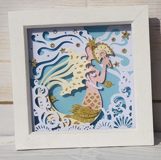 mermaid paper sculpture box frame using Dreaming Tree SVG files and the Cricut maker