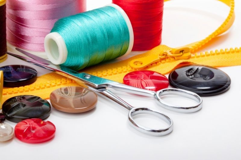 sewing tools, ribbon, zip, buttons, scissors