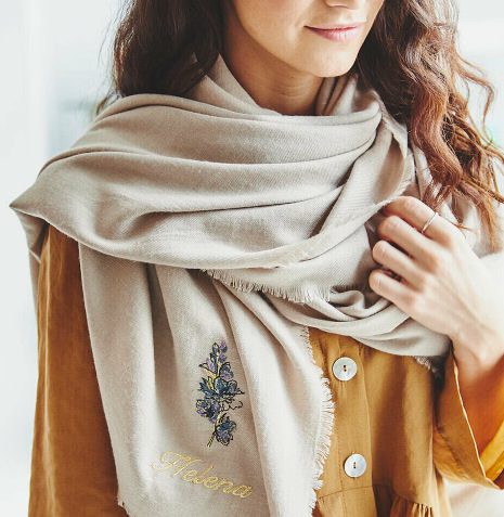 Personalised birth flower scarf from Not On The High Street