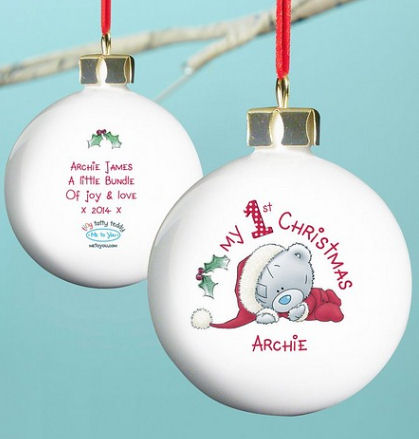 Personalised Tatty Teddy baby's first Christmas bauble