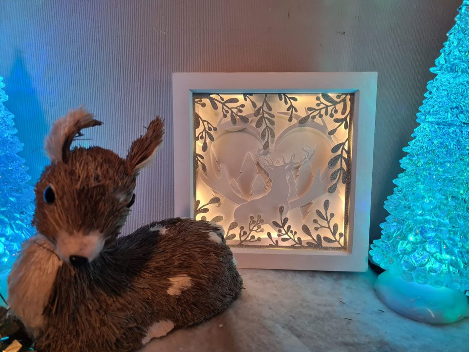 3D Layered shadow box scene - deer in the woods with lights